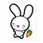 Kawaii Bunny and Carrot Postcard