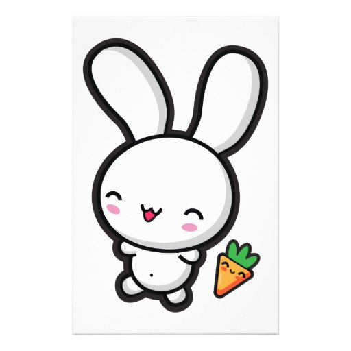 Kawaii Bunny and Carrot Stationery Paper