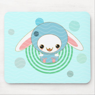 kawaii bunny blue mouse pad