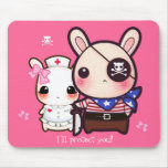 Kawaii bunny couple on pink mouse pad