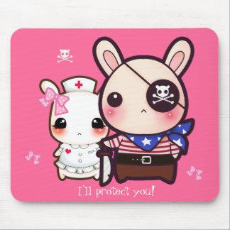 Kawaii bunny couple on pink mouse pad