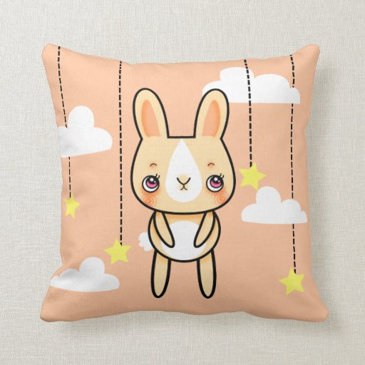 Kawaii bunny in the clouds square pillow