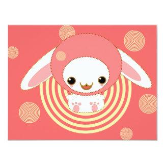 """kawaii bunny pink 4.25"""" x 5.5"""" invitation card"""