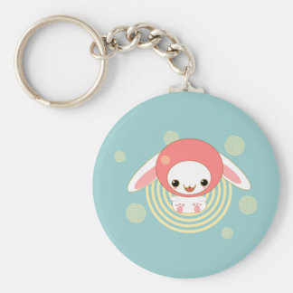kawaii bunny pink basic round button keychain
