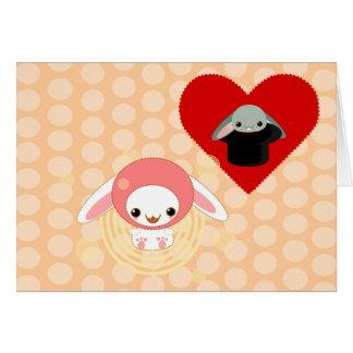 kawaii bunny pink be my valentine card