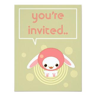 kawaii bunny pink invitation