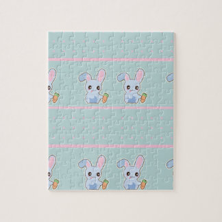 Kawaii Bunny pink mint accessories personalized Jigsaw Puzzles