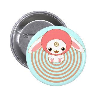 kawaii bunny pink pinback button