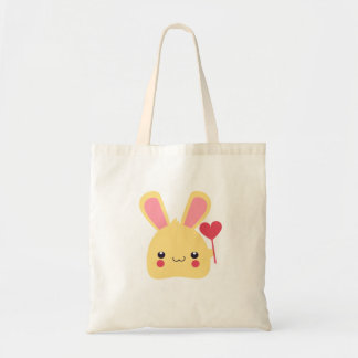 Kawaii Bunny Rabbit Face with Heart on a Stick Tote Bag