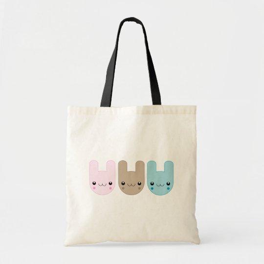 Kawaii Bunny Trio Tote Bag