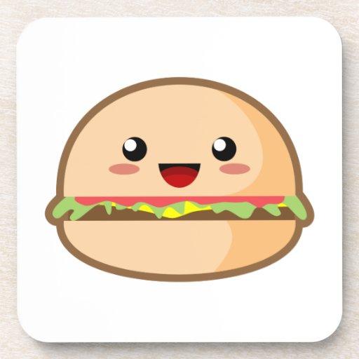 Kawaii Burger Beverage Coasters Zazzle