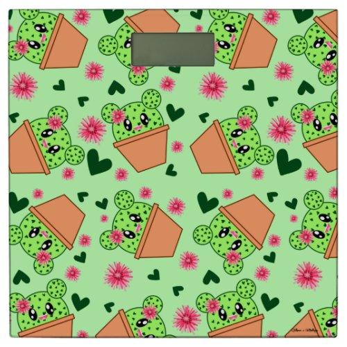 Kawaii Cactus Drawing Cute Patterned Light Green Bathroom Scale
