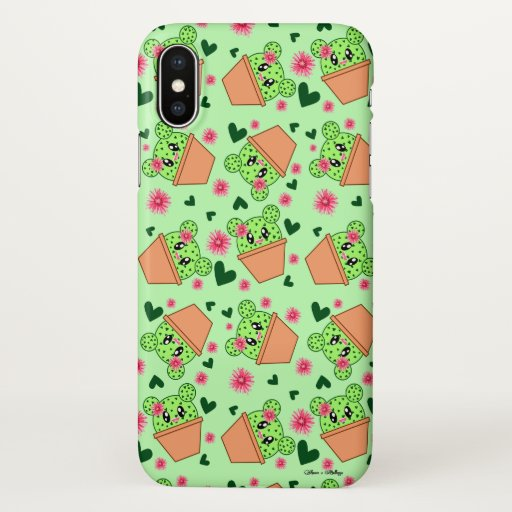 Kawaii Cactus Drawing Cute Patterned Light Green iPhone X Case