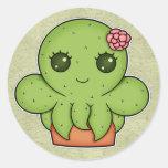 Kawaii Cactus Octopus Classic Round Sticker