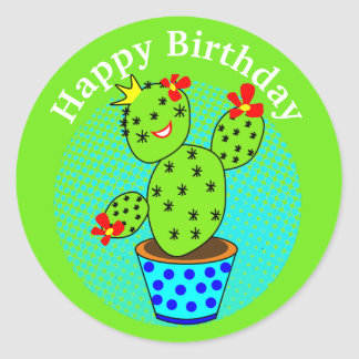 kawaii Cactus Plant Themed Fun Kids Birthday Party Classic Round Sticker