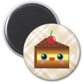 Kawaii Cake Pie Chocolate Vanilla Cream Cherry Yum 2 Inch Round Magnet