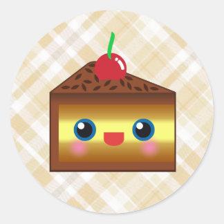 Kawaii Cake Pie Chocolate Vanilla Cream Cherry Yum Classic Round Sticker