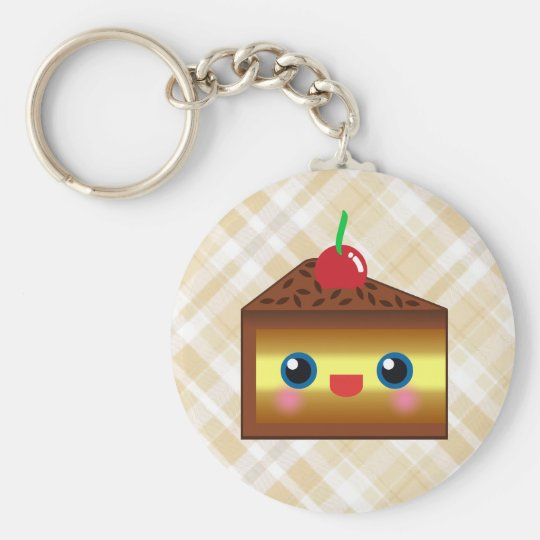 Kawaii Cake Pie Chocolate Vanilla Cream Cherry Yum Keychain