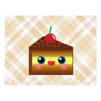 Kawaii Cake Pie Chocolate Vanilla Cream Cherry Yum Postcard