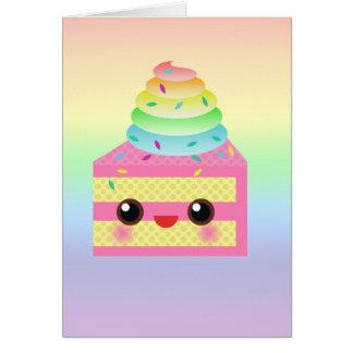 Kawaii Cake Pink Rainbow Sprinkles Fun Dessert Card