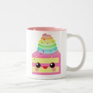 Kawaii Cake Pink Rainbow Sprinkles Fun Dessert Two-Tone Coffee Mug