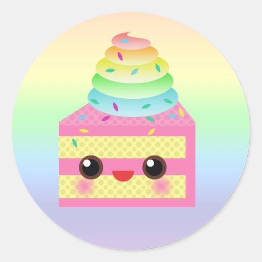 Kawaii Cake Pink Rainbow Sprinkles Fun Dessert Classic Round Sticker