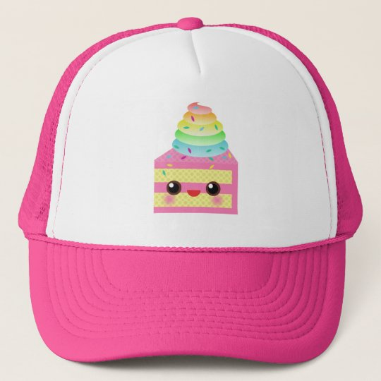 Kawaii Cake Pink Rainbow Sprinkles Fun Dessert Trucker Hat