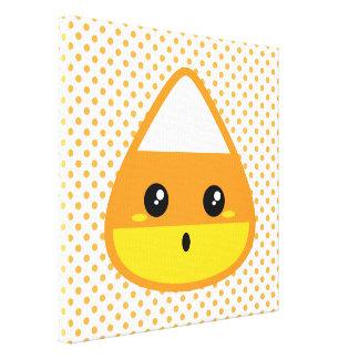 Kawaii Candy Corn Wrapped Canvas