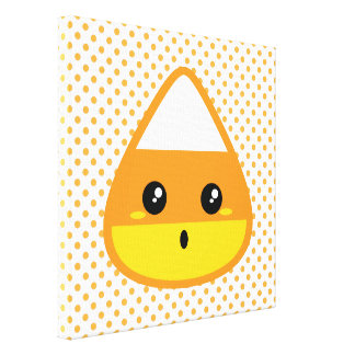 Kawaii Candy Corn Wrapped Canvas Canvas Print