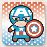 Kawaii Captain America With Shield Drink Coaster