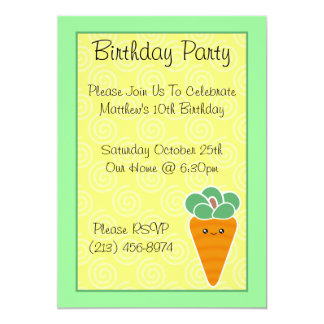 Kawaii Carrot Birthday Party Invitations