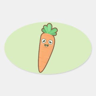 Kawaii Carrot Oval Sticker