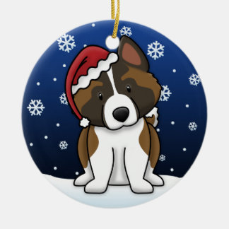 Kawaii Cartoon Akita Christmas Ornament