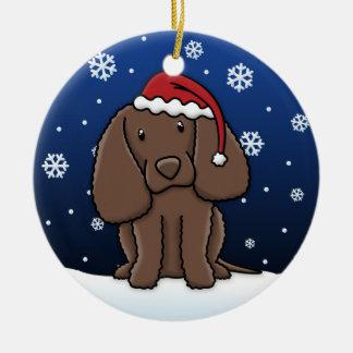 Kawaii Cartoon American Water Spaniel Christmas Ceramic Ornament