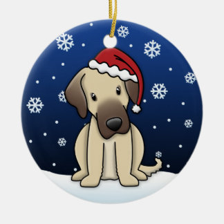 Kawaii Cartoon Anatolian Shepherd Dog Christmas Ceramic Ornament