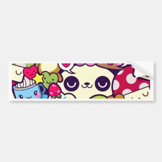 Kawaii Cartoon Animal Food Party Bumper Sticker