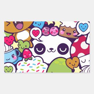 Kawaii Cartoon Animal Food Party Rectangular Sticker