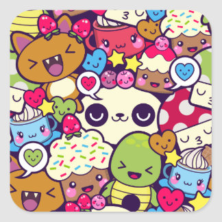 Kawaii Cartoon Animal Food Party Square Sticker