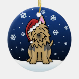 Kawaii Cartoon Australian Terrier Christmas Ceramic Ornament
