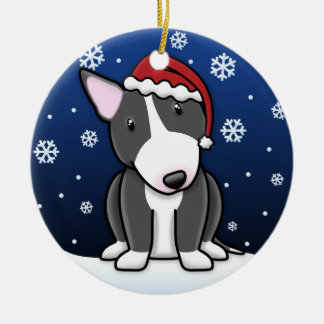 Kawaii Cartoon B&W Bull Terrier Christmas Ceramic Ornament
