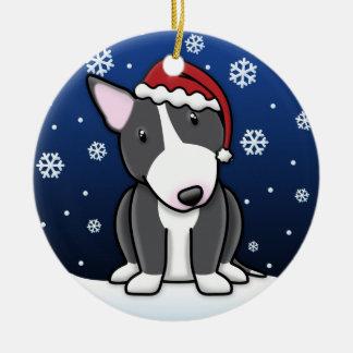 Kawaii Cartoon B&W Bull Terrier Christmas Double-Sided Ceramic Round Christmas Ornament