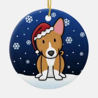 Kawaii Cartoon Basenji Christmas Ceramic Ornament