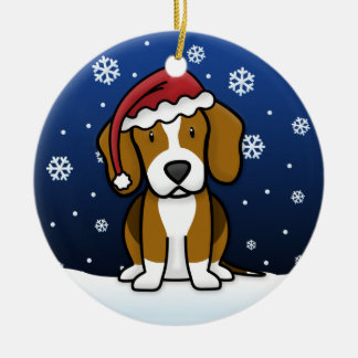 Kawaii Cartoon Beagle Christmas Ceramic Ornament