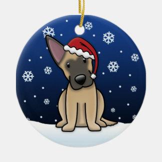 Kawaii Cartoon Belgian Malinois Christmas Christmas Tree Ornament