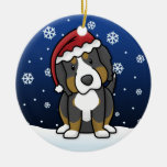 Kawaii Cartoon Bernese Mountain Dog Christmas Christmas Tree Ornament