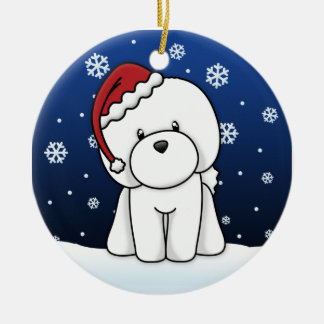Kawaii Cartoon Bichon Frise Christmas Ornament