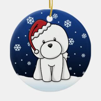Kawaii Cartoon Bichon Frise Christmas Ornament
