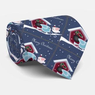 kawaii cartoon birds snow primitive christmas tie
