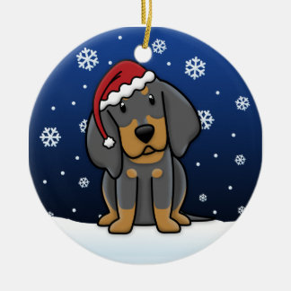Kawaii Cartoon Black & Tan Coonhound Christmas Ceramic Ornament