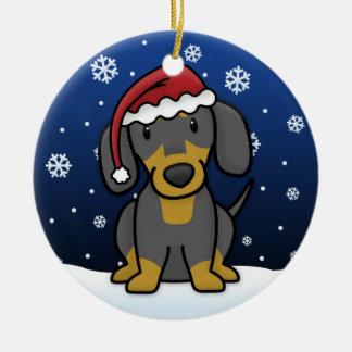 Kawaii Cartoon Black Tan Dachshund Christmas Ornaments